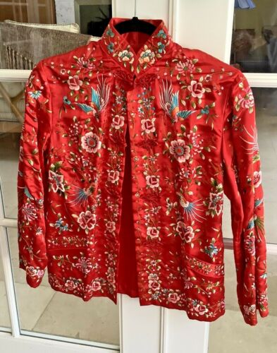 Chinese Vintage 100% Silk RED Embroidered Floral J