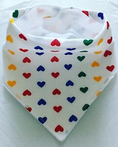 Fun Baby Bandana Dribble Bib Multi Bright Hearts On White, handmade