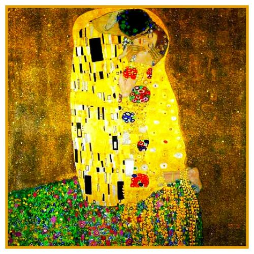 Symbolist Gustav  Klimt The Kiss Counted Cross Stitch Chart Pattern