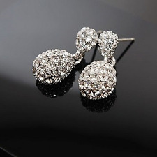 Earrings 9ct White Gold Filled Stud Dangle Drop Diamonds Antique Style Mother