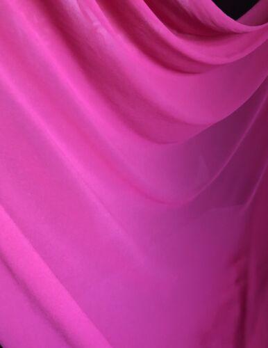 "1 X Meter Hot Pink  Moss Crepe Chiffon Fabric Semi Transparent Bridal 58"""