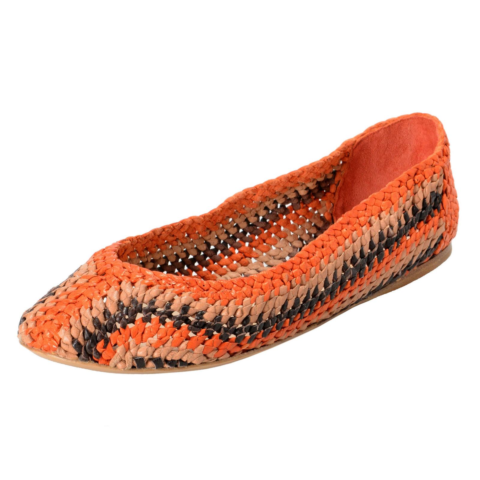 Prada Damen Mehrfarbig Leder Ballerinas Schuhe Größe 8.5 9.5