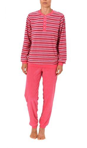 201 93 139 Damen Frottee Schlafanzug Pyjama lang mit Bündchen und Knopfleiste