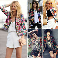 Vintage Womens Suit Blazer Floral 3/4 Sleeve Short Cardigan Jacket Coat Top Wrap