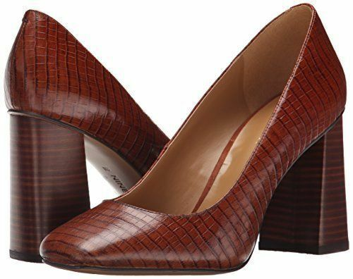 Nine West Begonia 5.5 M Dark Natural Natural Natural Croco Embossed Leather Pumps Block NewBox 190e89