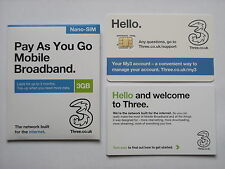 Tre 3 GB di dati PRECARICATA 3G / 4G Pay As You Go nano-SIM PER IPAD MINI & IPAD AIR