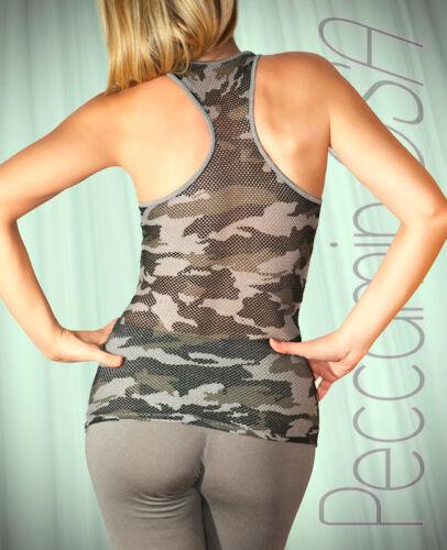 Maglietta Top Donna Mimetica Teschio Skull Military Camouflage Canotta Army