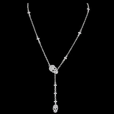 Vintage Skull Clear Rhinestone Crystal Chain Necklace Pendant Halloween Jewelry
