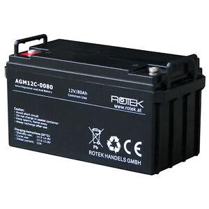 12V 80Ah USV AGM Bleiakku Bleigel Akkumulator Batterie ...