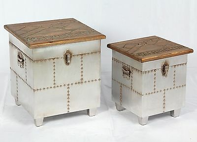2er Set Vintage Hocker Industrie Design Kiste Loft Retro Truhe Used Möbel  509