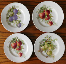 Set of 4 small plates Czechoslovakia porcelain fruit designs 17 cm Vintage W