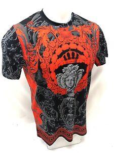 Homme-prestigieux-Shirt-a-Manches-Courtes-Noir-Rouge-Medusa-Head-Silky-Diamond-109-NEUF