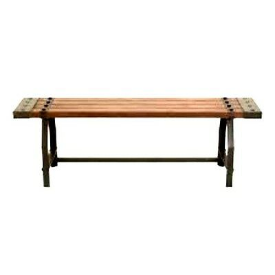Fine Wood Bench Rustic Industrial With Iron Grommet End Brackets Leg And Cross Bar Ebay Uwap Interior Chair Design Uwaporg