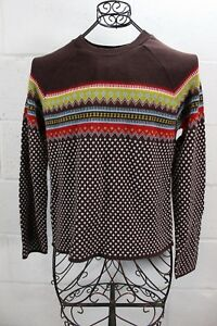FREE-PEOPLE-Vintage-Fair-Isle-Brown-Multi-Color-Knit-Winter-Sweater-L-USA