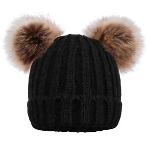 cad88773d Details about Women's Winter Chunky Knit Beanie Hat with Double Faux Fur  Pom Pom Ears