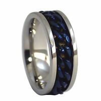 Spinner Ring | Electric Blue Stainless Steel Chain Spinner Ring | Worry Band