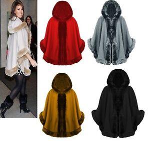 Shawl Cape Hooded Poncho Faux Womens Wrap Ladies Fur Cardigan Trim FXw8aRq