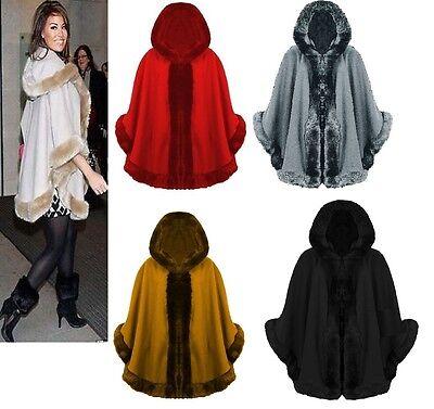 Gutherzig Ladies Faux Fur Trim Hooded Poncho Cape Womens Wrap Shawl Cardigan Warm Coat