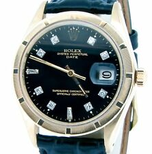 Rolex Date Solid 14K Yellow Gold Watch Engine-Turned Bezel Black Diamond Dial