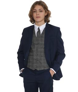 Page Boy Wedding Prom Party Suit Boys Grey Suit Tr Boys Suits Boys Check Suits