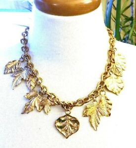 Gorgeous-Multi-Dangling-Leaf-Necklace-Gold-tone-Vintage