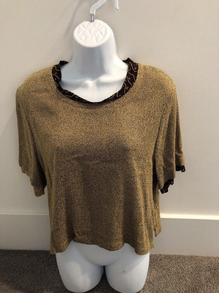 damen Jessica Gelb Sand Short Sleeve Patterned Top Shirt Größe 1. NWT    DJ125