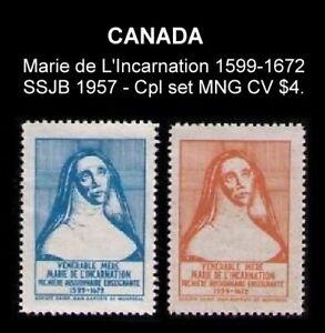 CANADA-SSJB-1957-CPL-SET-MARIE-de-L-039-INCARNATION-1599-1672-CINDERELLA-SEAL-CV-4