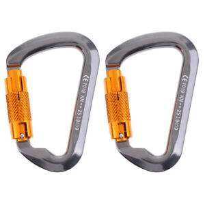 2Twist-Gate-Auto-Locking-Carabiner-Rock-Tree-Climbing-Clip-Hammock-Hook-25KN
