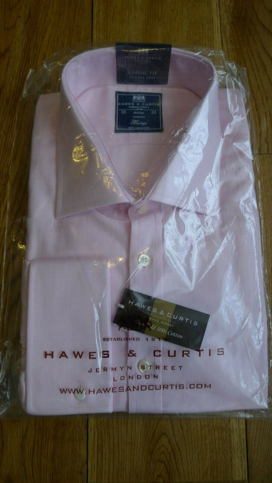 New Hawes & Curtis two fold cotton men's pink shirt collar 18 in chest 46 in