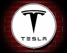 TESLA LED 600mm ILLUMINATED GARAGE WALL LIGHT CAR BADGE SIGN LOGO MAN CAVE MODEL