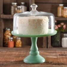 Pioneer Woman Cake Stand 10in Teal Green Jadeite Glass With Cover Vintage Look