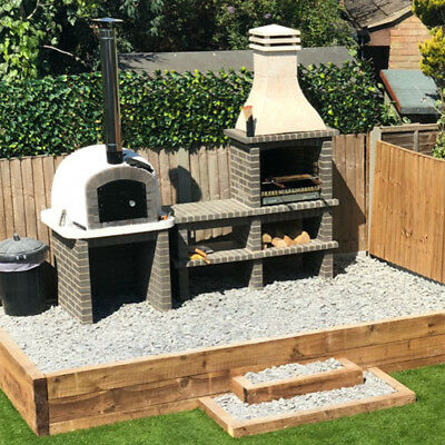 Bbq Pizza Oven.Grey Brick Masonry Mediterranean Bbq With Wood Fired Pizza Oven 3m X 2 2m Ebay