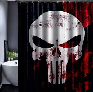 Skull Grunge Gothic Punk Waterproof Bath Drape Hooks Shower Curtains