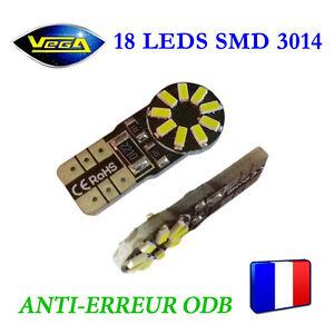 1 Ampoule T10 W5W 18 leds 3014 SMD blanc effet xénon anti-erreur ODB 12V