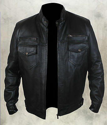 Stylish Mens Fashion Real Pure Sheep Leather Bomber/Biker Jacket 6 Front Pockets