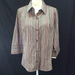 Merona-Woman-Blouse-Shirt-Size-18W-Ladies-Cotton-Blend-Stripe-3-4-Sleeve-NWT