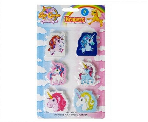 Pink Unicorn Erasers Rubbers Girls Party Bag Filler Toy School Stationery Toys