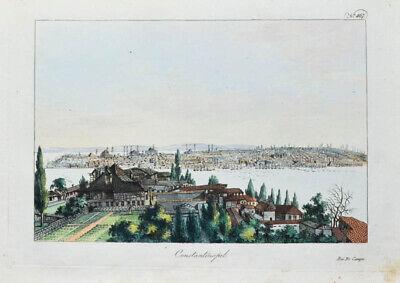 C1815 Istanbul Konstantinopel Constantinopel Kolorierte Kupferstich-ansicht Starker Widerstand Gegen Hitze Und Starkes Tragen