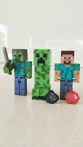 Minecraft-Set-of-3-Creeper-Steve-amp-Zombie-with-Sword-Figures-New-No-Box