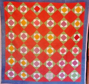 ANTIQUE-DIAMOND-in-SQUARE-QUILT-1880s-CHECKED-HOMESPUN-BACK