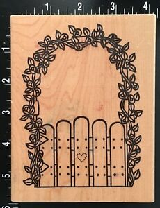 LEAFY-HOUSE-GATE-ARCH-AND-FENCE-Azadi-Earles-Wood-Mounted-Rubber-Stamp