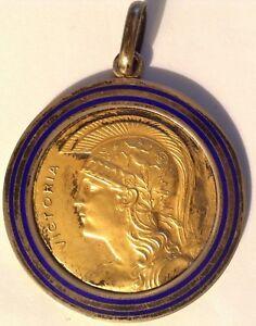 Importante-grande-medaglia-argento-dorato-smalto-blu-1930-VICTORIA-25-2-grammi