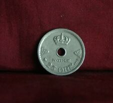 1929 Norway 25 Ore Copper Nickel World Coin Norge Scandinavian Crown Cross