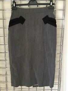 VINTAGE-VIVIENNE-WESTWOOD-GREY-BLACK-PENCIL-SKIRT-UK-12-PIN-UP-BURLESQUE-1940s