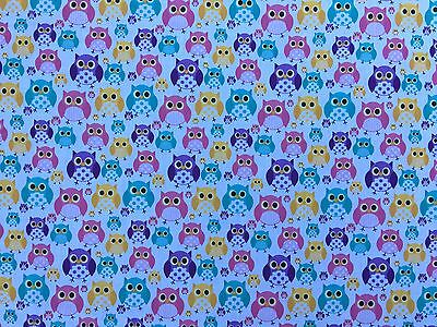 Large Owls Print Poly Cotton Kids Craft Dress Quilt Patchwork Bedding Fabric