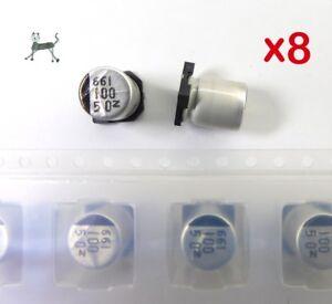 100uF-50V-8-Stueck-SMD-Alu-Elko-NIC-NACZ-Serie-gt-Very-Low-Impedance