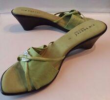KIM ROGERS Green Open Toe Slides Wedges Sandals Shoes Italy Women's 9 HiddenJuel