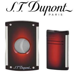 Neuf-st-Dupont-Cadeau-Ensemble-Maxijet-Tailleur-amp-Briquet-Sunburst-Brun