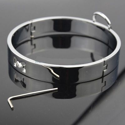 "stainless steel flat  Collar with holes O ring sizes 14/""15/""16/""17/"" gay //cosplay"
