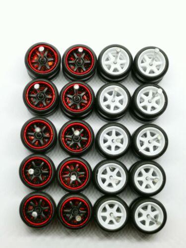 White MIX for JDM 1:64 Hot Wheels 6 Spoke Rubber Tire 10 sets Redline